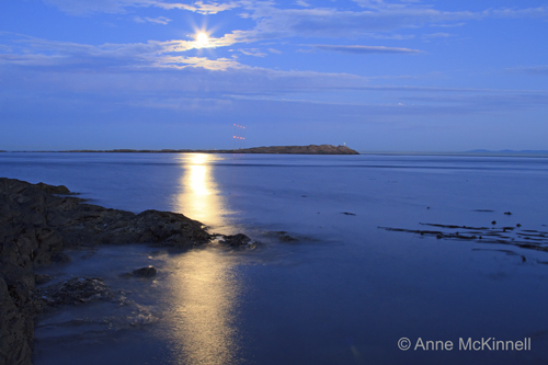 Moonrise over Trial Island