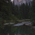 Last light on Half Dome reflecting in the Merced River.
