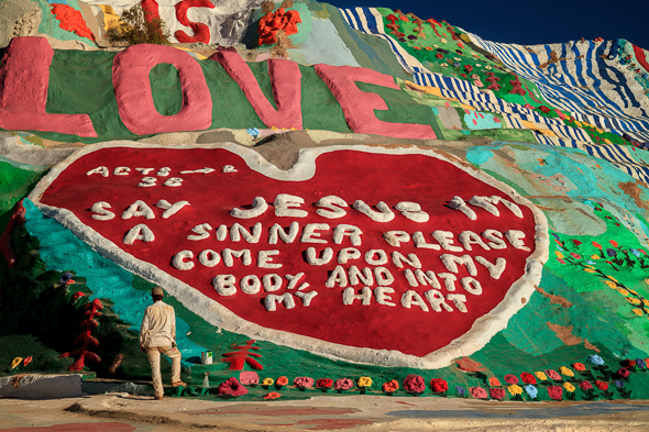 Painting Salvation Mountain, Slab City, California
