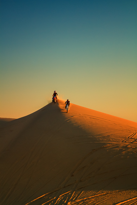 Bikers at Imperial Sand Dunes, California, by Anne McKinnell