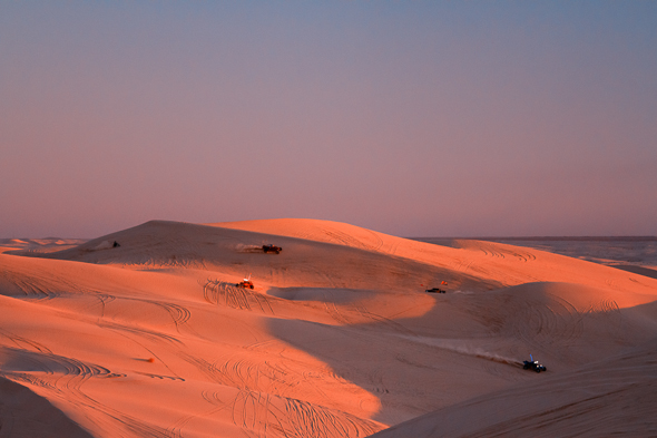 Dune buggies at Imperial Sand Dunes, California, by Anne McKinnell