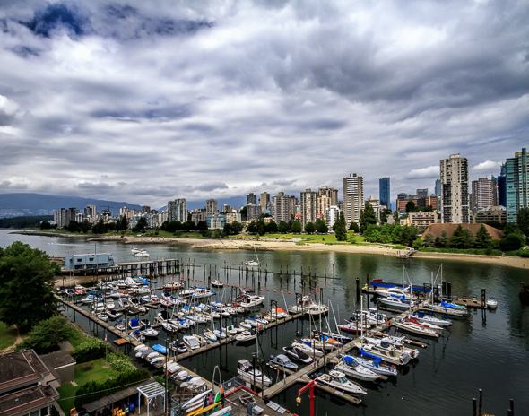 Vancouver, British Columbia, from the Burrard Street Bridge, by Anne McKinnell