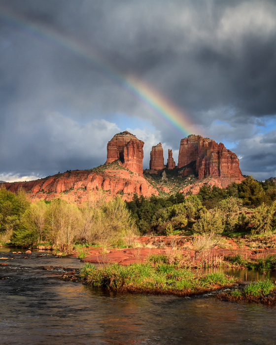 Rainbow over Cathedral Rock near Sedona, Arizona, by Anne McKinnell