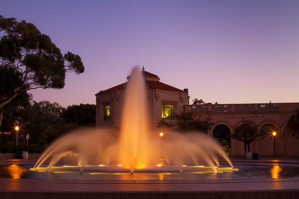 Balboa Park Fountain at night, San Diego, California, by Anne McKinnell