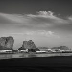 Black and white seascape at Bandon Beach, Oregon, by Anne McKinnell.