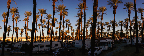 Panorama view of our RV park in Palm Springs, California.