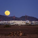 Full Moon over RVs in Quartzsite, Arizona