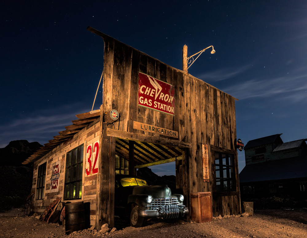 Gas station in El Dorada Canyon, Nevada, by Anne McKinnell