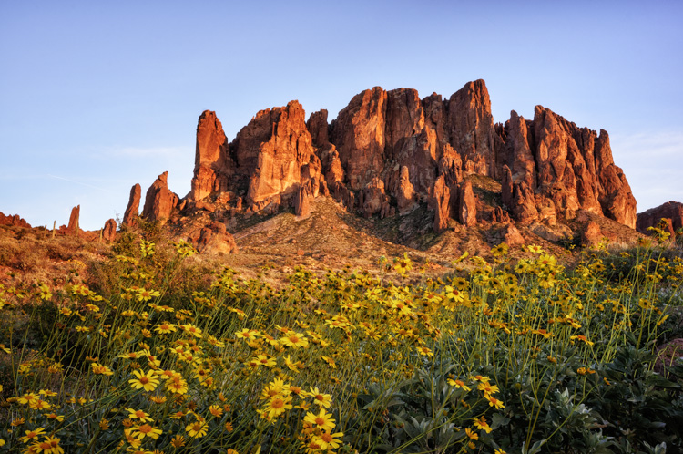 The Superstition Mountains in Lost Dutchman State Park, Arizona.