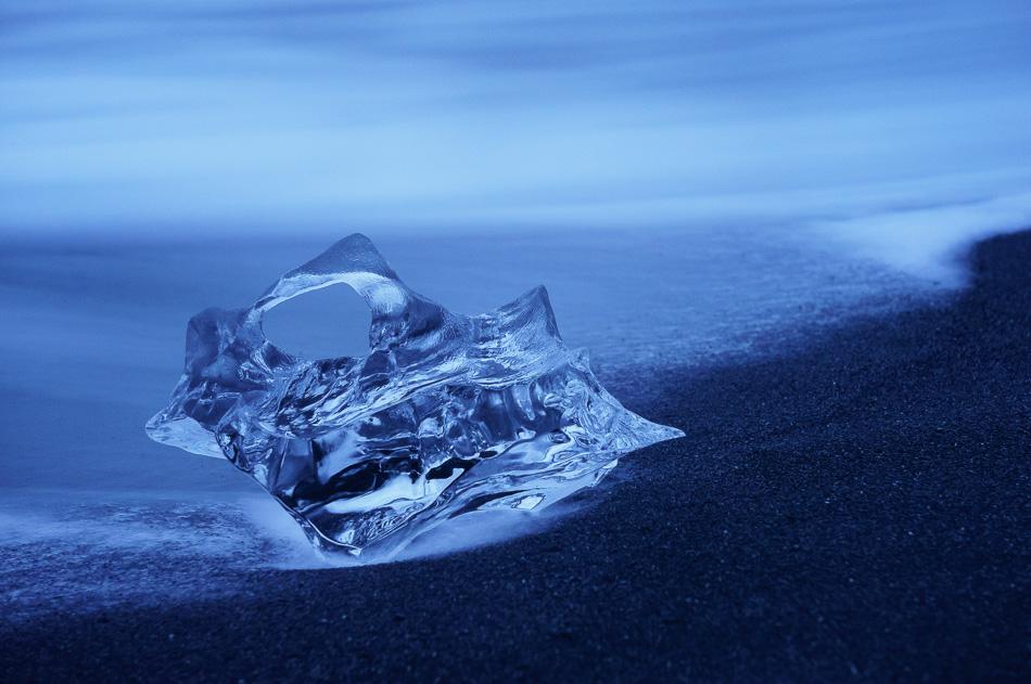 Iceberg on Black Sand Beach by Anne McKinnell