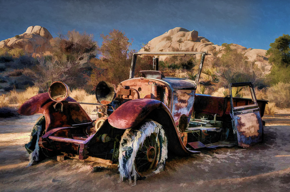 Abandoned car in Joshua Tree National Park, California, processed with HDR, Topaz Adjust and Simplify.