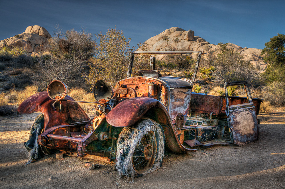 Abandoned car in Joshua Tree National Park, California, processed with HDR and Topaz Adjust.