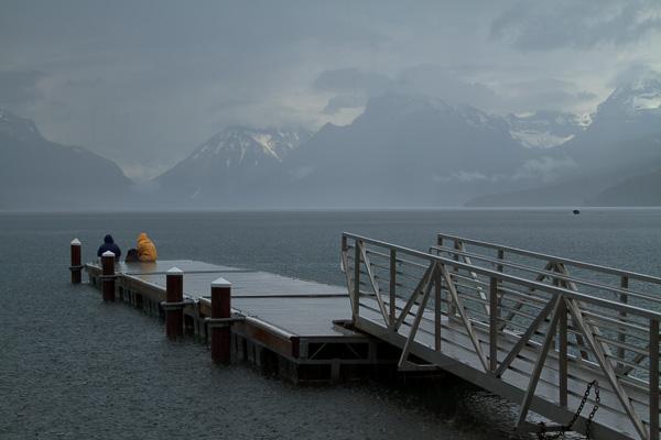 Sitting in the rain at Lake McDonald, Glacier National Park, Montana.