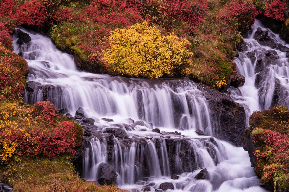 Hraunfosser Waterfall, Iceland by Anne McKinnell