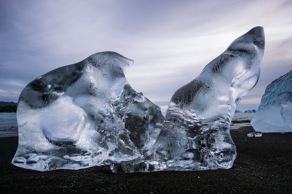 Ice sculpture at Breiðamerkursandur beach, Iceland by Anne McKinnell