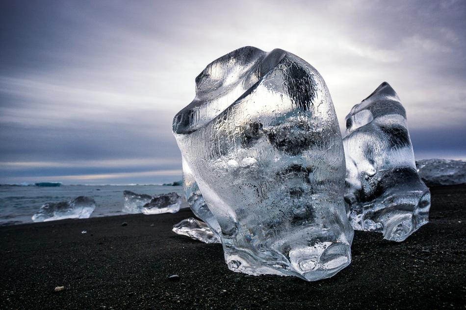 Ice sculpture at Breiðamerkursandur beach, Iceland by Anne McKinnell