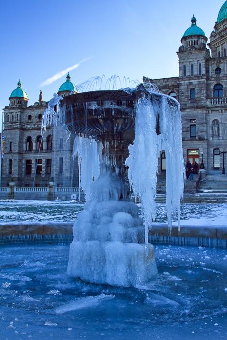 The fountain in front of the Legislature in Victoria, British Columbia,
