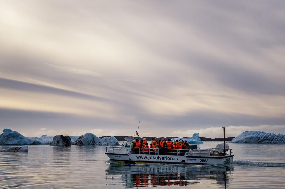 Boat tour at Jokulsarlon Glacial Lagoon, Iceland