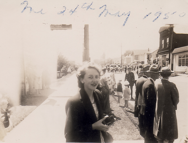 Mom at the Victoria Day Parade in Nanaimo, BC, in 1950.