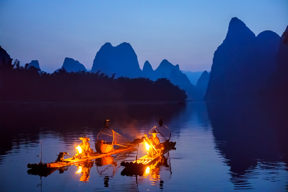 Cormorant Fishermen on the Li River, Guilin, China