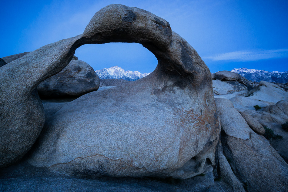 Mobius Arch, Alabama Hills, California, at twilight.