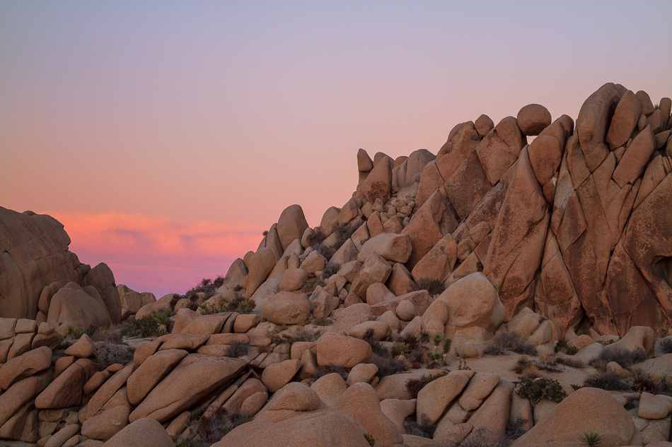 Jumbo Rocks, Joshua Tree National Park after sunset.