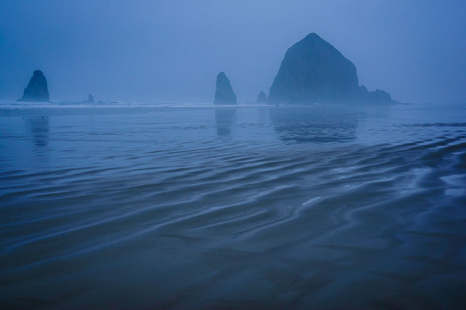 Ripples in the sand on Cannon Beach, Oregon.